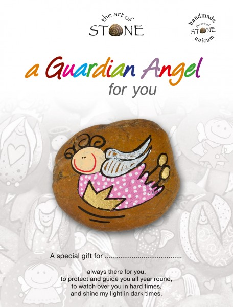 "a Guardian Angel for you maker 04 - Hand painted natural stone ""Unique Lucky Charm"""