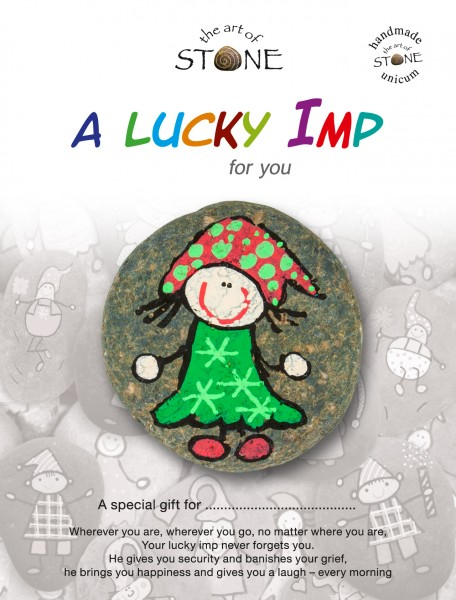 "Lucky Imp for you - hand - painted natural stone ""unique"" fortune - maker 22"