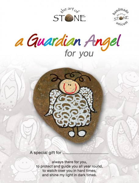 "a Guardian Angel for you maker 20 - Hand painted natural stone ""Unique Lucky Charm"""