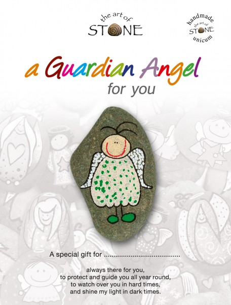 """a Guardian Angel for you maker 15 - Hand painted natural stone """"Unique Lucky Charm"""""""